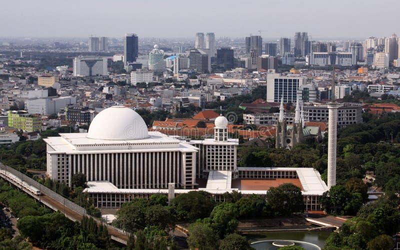 Istiqlal moské i Jakarta arkivbild