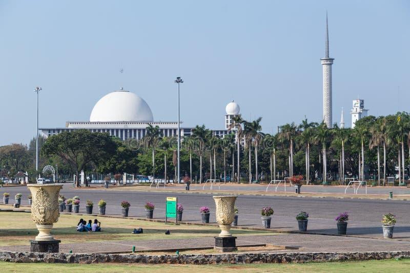 Istiqlal moské - nationell moské av Indonesien i Jakarta arkivfoto