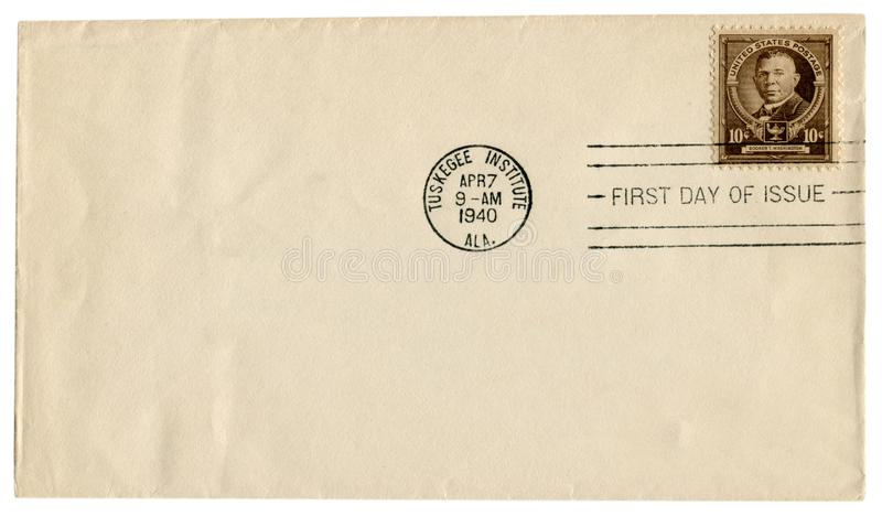 Istituto di Tuskegee, Alabama, U.S.A. - 7 aprile 1940: Busta storica degli Stati Uniti: copertura con il francobollo marrone Book immagine stock