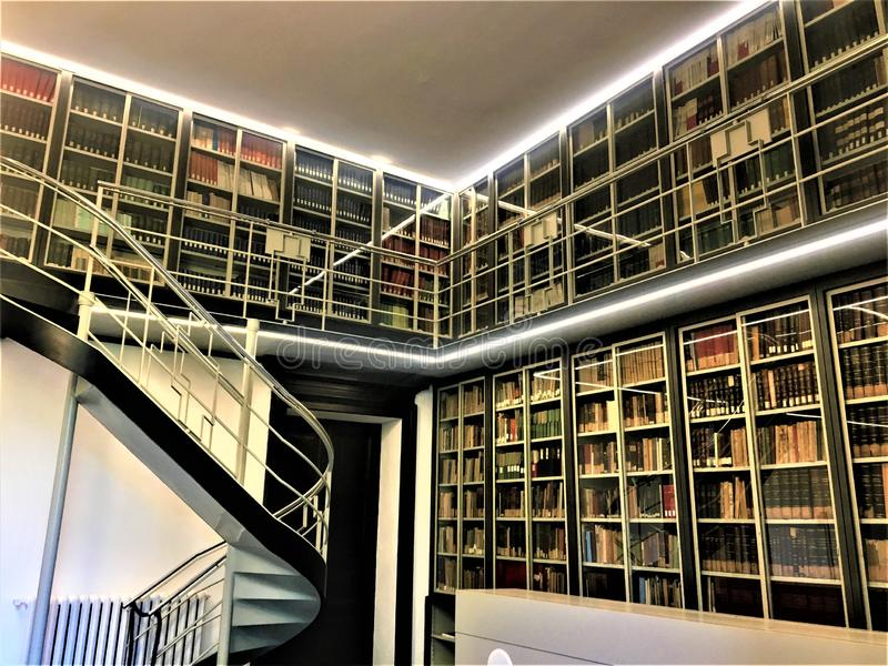 The Istituto Nazionale di Ricerca Metrologica INRIM in Turin city, Italy. Architecture, history, knowledge, books and art royalty free stock image
