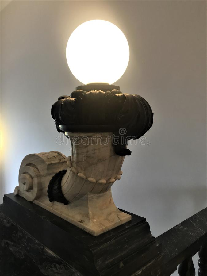 The Istituto Nazionale di Ricerca Metrologica INRIM in Turin city, Italy. Art, architecture, stairway and lamp stock photo