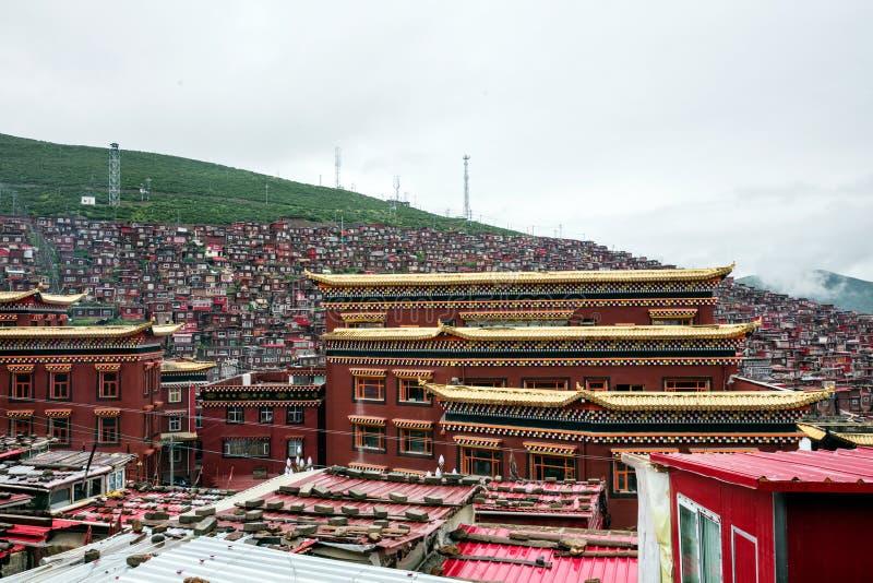 Istituto universitario buddista in Sichuan, Cina fotografia stock libera da diritti