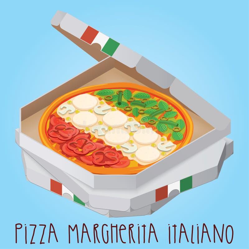 Istna pizza Margherita Italiano Pizzy włoski margherita ilustracja wektor