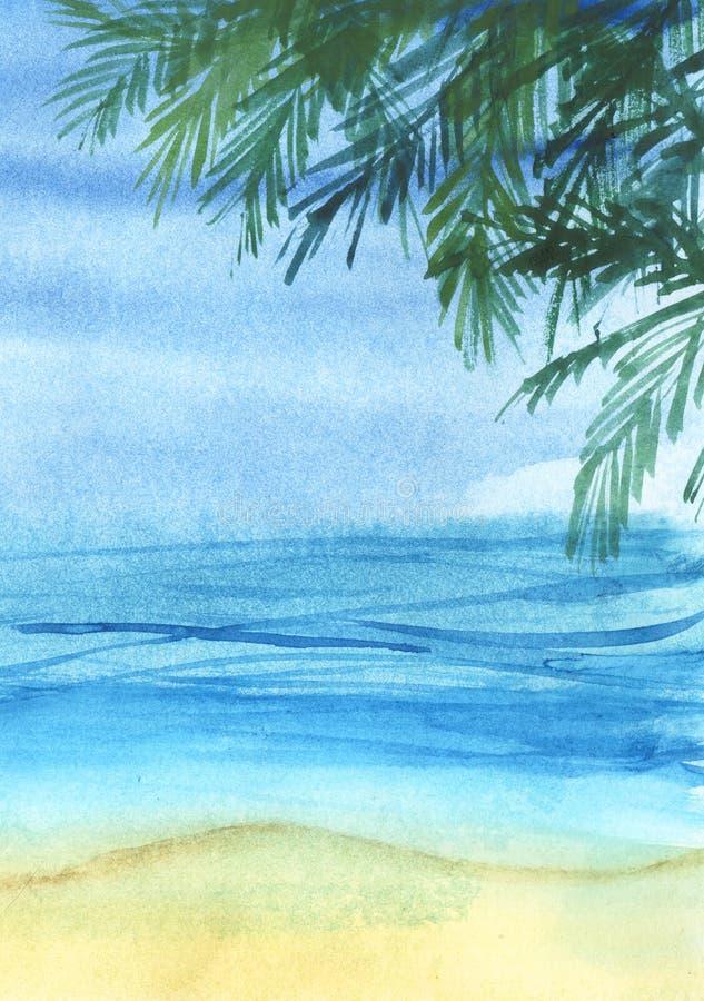 Istny akwareli nakreślenie Egipscy ostrosłupy na złotym piaskowatym sk ilustracji