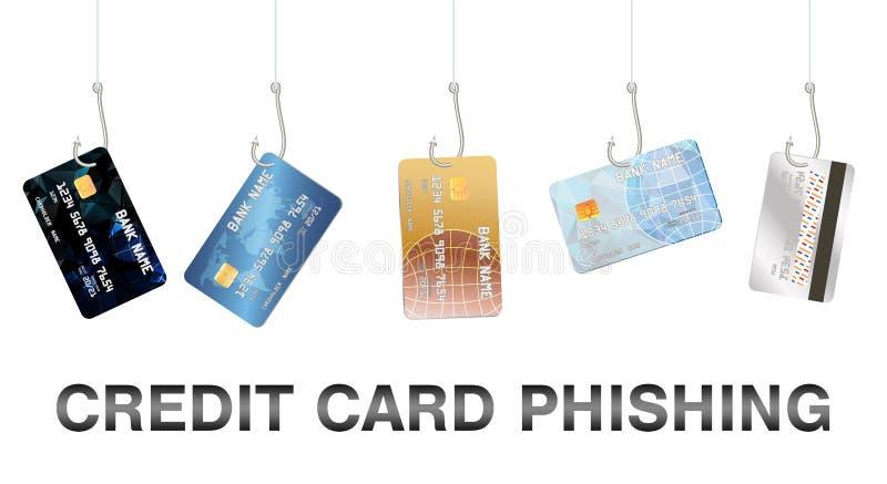 Istny połowu haczyk phishing kredytowej karty wektor ilustracji