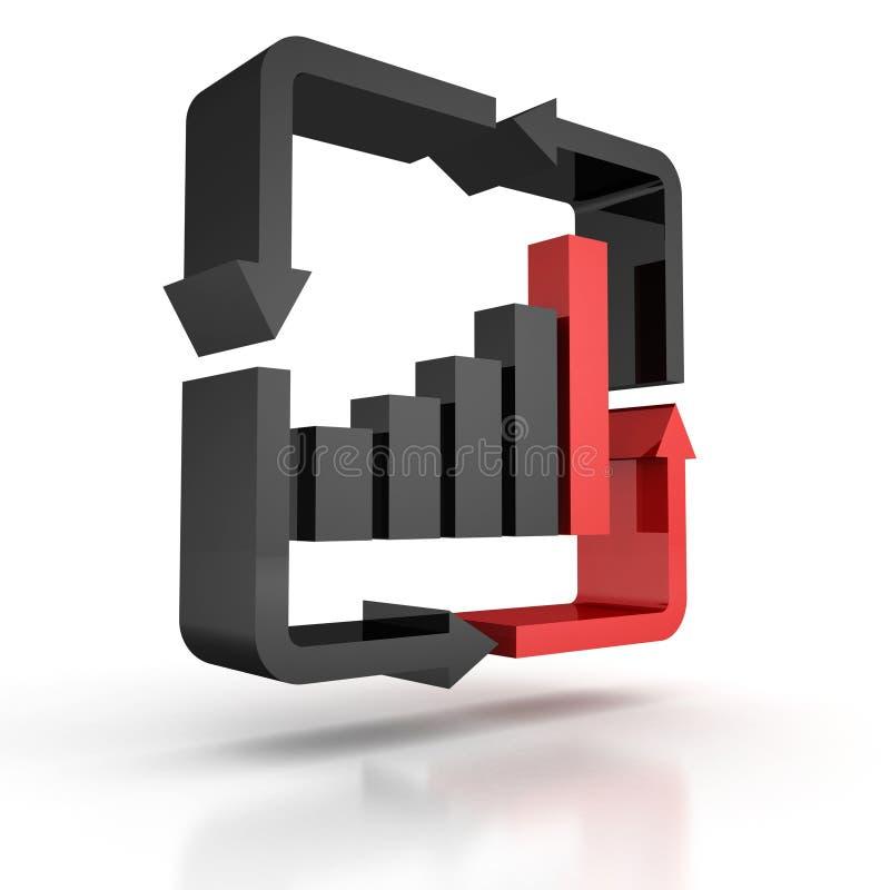 Istogramma in aumento con moto della freccia intorno all'icona illustrazione vettoriale