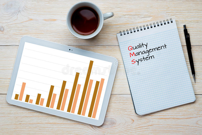 Istogramma del sistema di gestione della qualità fotografia stock