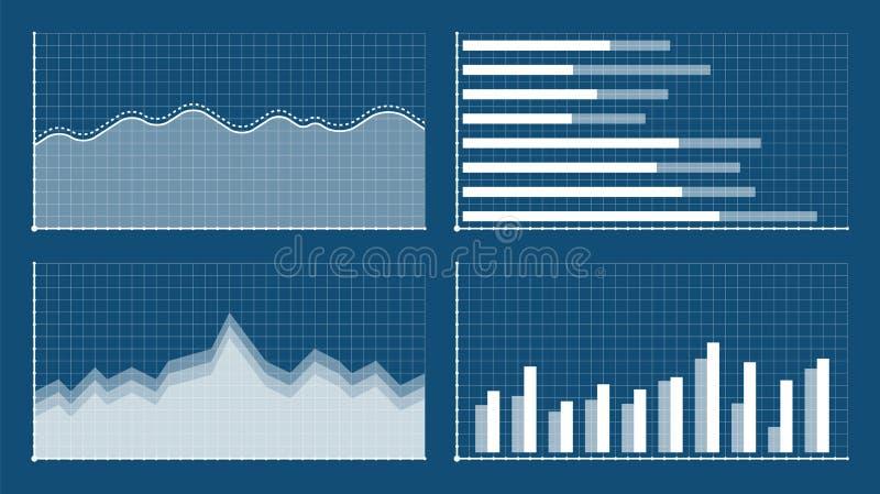 Istogramma e modelli del grafico lineare, infographics di affari, illustrazione di vettore Grafici e grafici messi Statistica e illustrazione vettoriale
