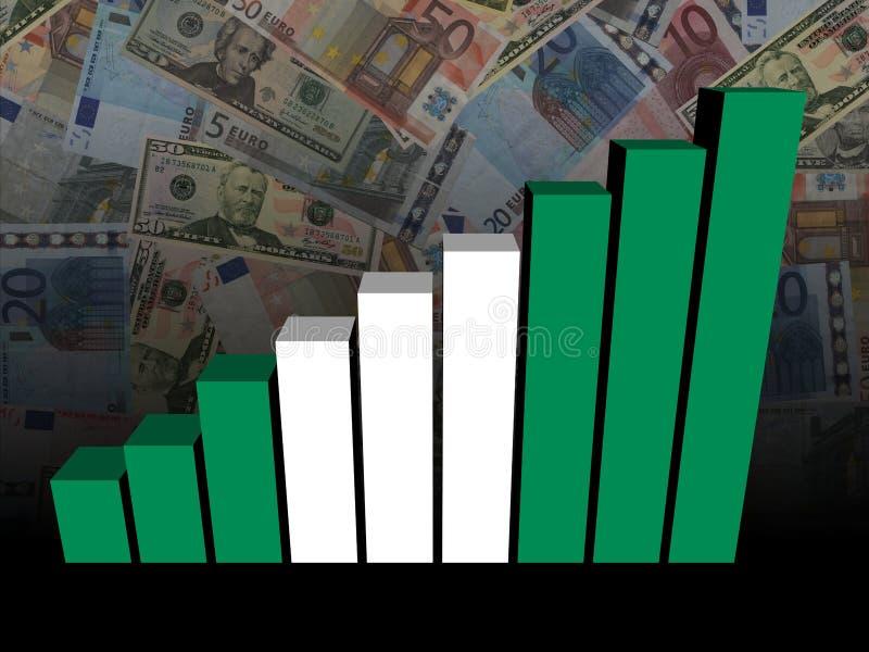 Istogramma nigeriano della bandiera sopra gli euro ed i dollari di illustrazione illustrazione di stock