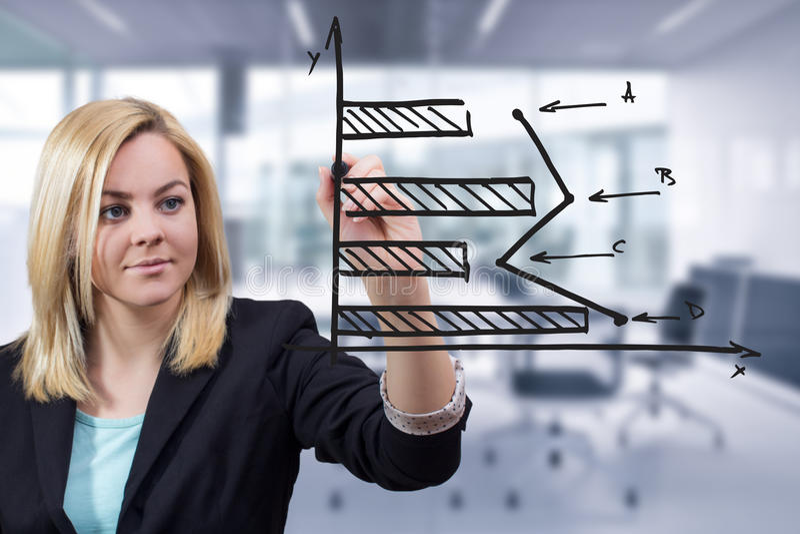 Istogramma orizzontale del disegno della donna di affari all'ufficio fotografia stock libera da diritti