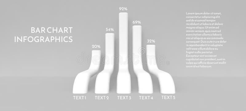Istogramma sotto forma di colonne di piegamento tridimensionali lunghe illustrazione di stock