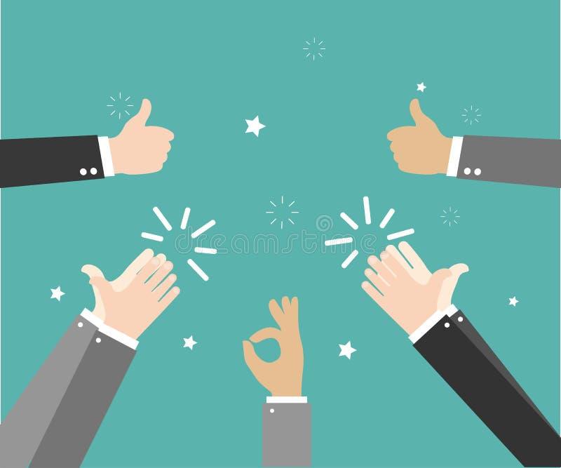 Istot ludzkich ręk Klaskać oklaskuje ręki Ręka gesty - OK, Super, kciuk wektorowa ilustracja w mieszkanie stylu na zielonym tle ilustracji