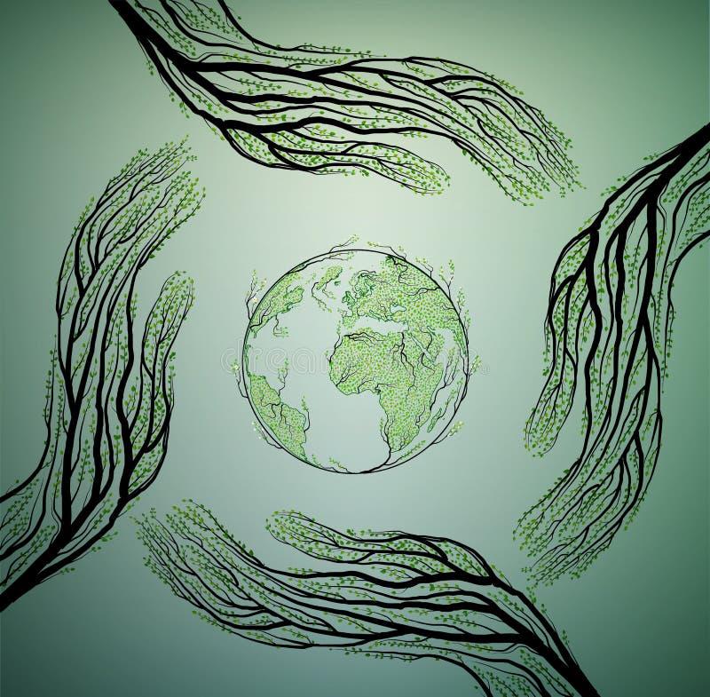 Istot ludzkich ręk spojrzenie jak gałąź i bierze opiekę Ziemski natury pojęcie, gacenie drzewny pomysł, royalty ilustracja