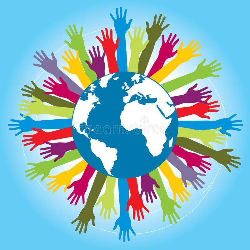 Istot ludzkich ręki barwili wokoło kuli ziemskiej z światową mapą ilustracja wektor