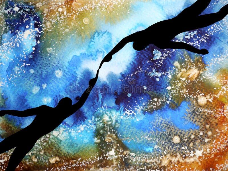 Istota ludzka i duchowa potężna energia łączymy inny światowy wszechświat royalty ilustracja