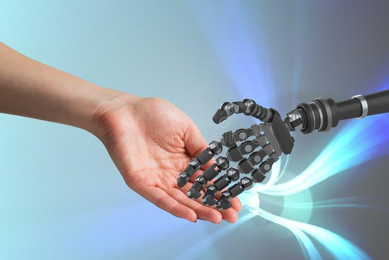 Istota ludzka i robot dotyka ich ręki w błękitnym tle ilustracja wektor