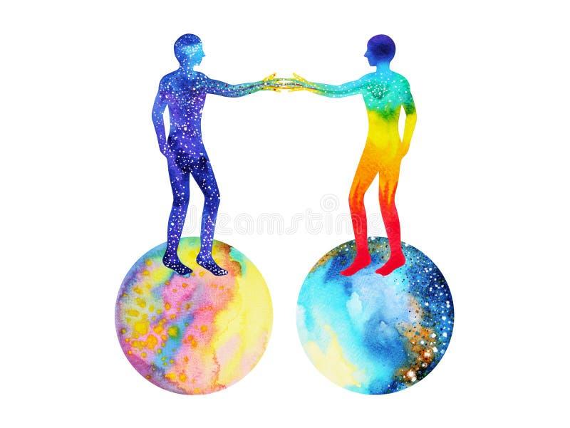 Istota ludzka i wszechrzecza władza, akwarela obraz, chakra reiki, mastermindu światowy wszechświat wśrodku twój umysłu royalty ilustracja