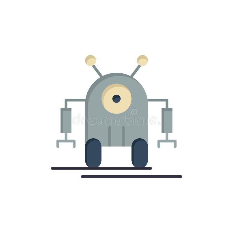 Istota ludzka, Mechaniczna, robot, technologia koloru Płaska ikona Wektorowy ikona sztandaru szablon ilustracja wektor