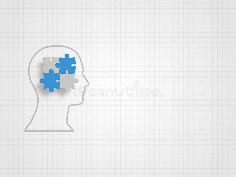 Istota ludzka model wypełniający wewnątrz z wyrzynarkami na siatki tle reprezentuje projekta główkowanie i innowaci pojęcie tła b ilustracji