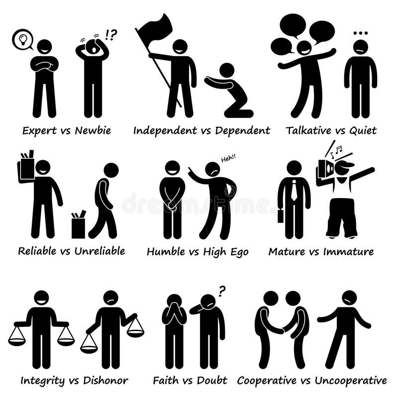 Istota ludzka Naprzeciw zachowanie pozytywu vs Negatywne charakterów znamion kija postaci piktograma ikony ilustracja wektor