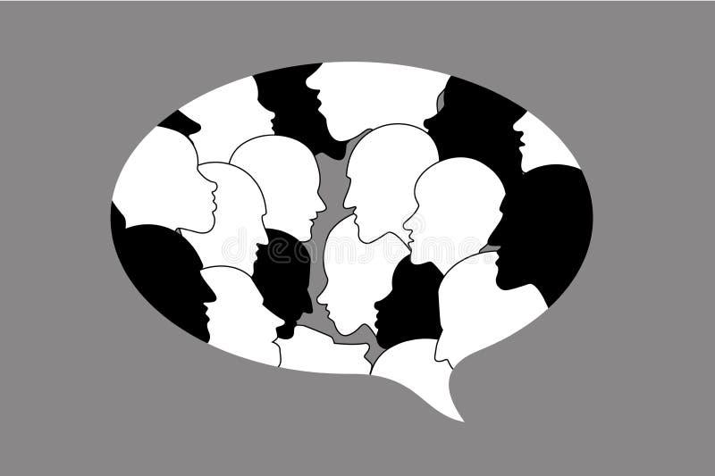 Istota ludzka profilu głowy dyskusja w dialog bąblu royalty ilustracja