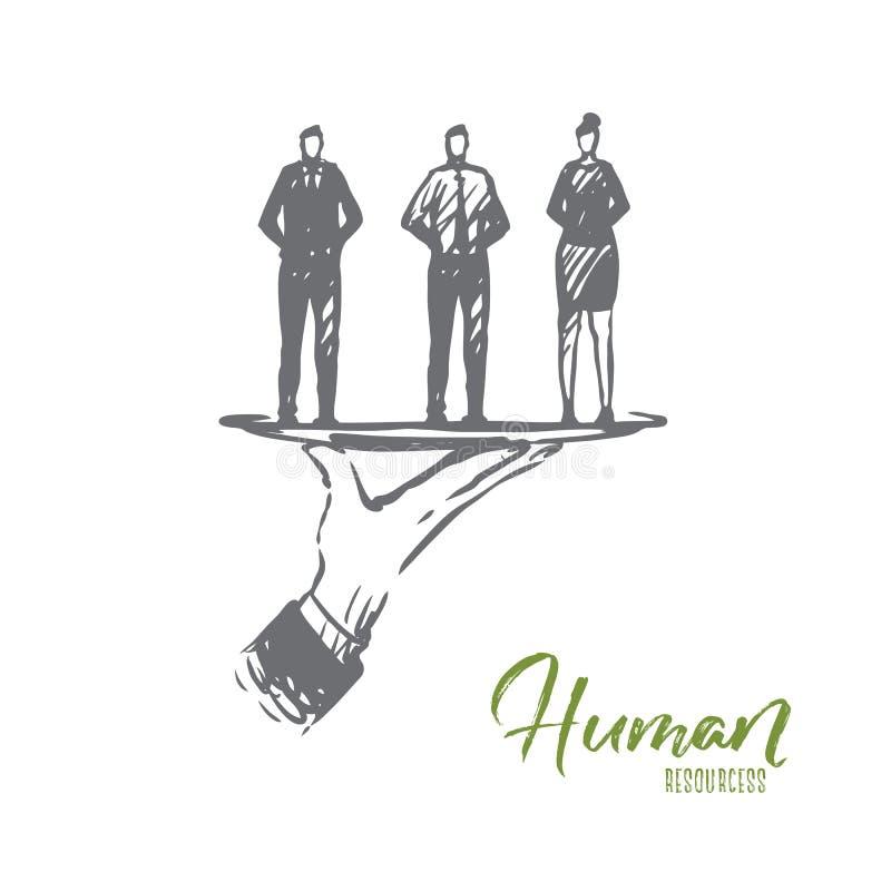 Istota ludzka, zasoby, ludzie, drużyna, biznesowy pojęcie Ręka rysujący odosobniony wektor royalty ilustracja
