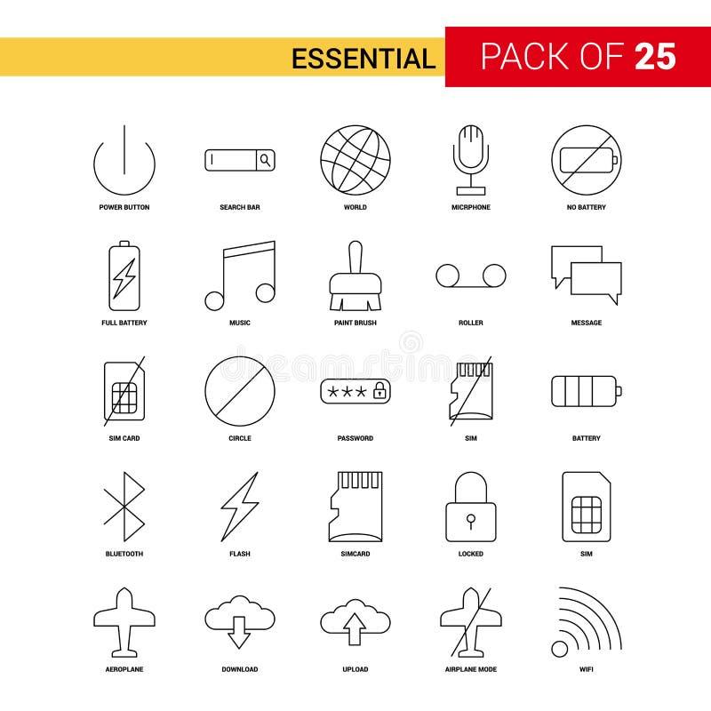Istotna czerni linii ikona - 25 konturu ikony Biznesowy set ilustracja wektor