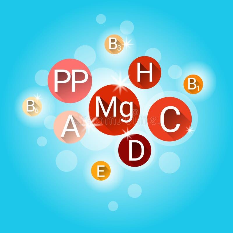 Istotne Chemicznych elementów odżywki kopalin witaminy ilustracji