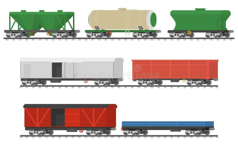 Istotni pociągi Kolekcja frachtowi kolejowi samochody ilustracja wektor