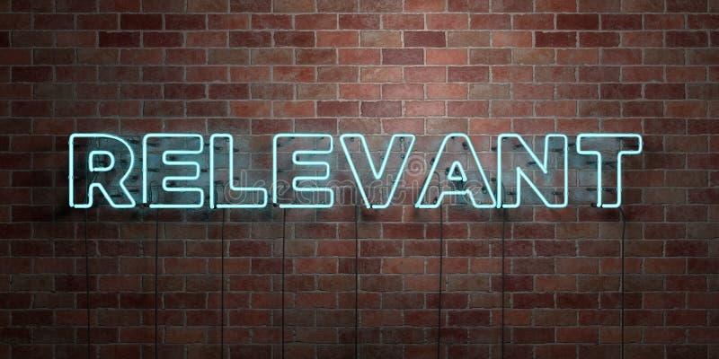 ISTOTNY - fluorescencyjny Neonowej tubki znak na brickwork - Frontowy widok - 3D odpłacający się królewskość bezpłatny akcyjny ob royalty ilustracja