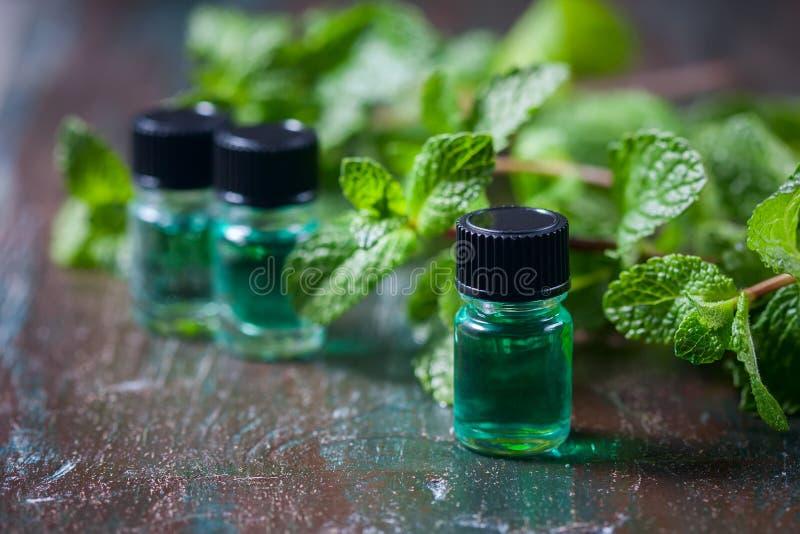 Istotny olej miętówka w małych butelkach, świeża zieleni mennica na drewnianym tle obraz stock