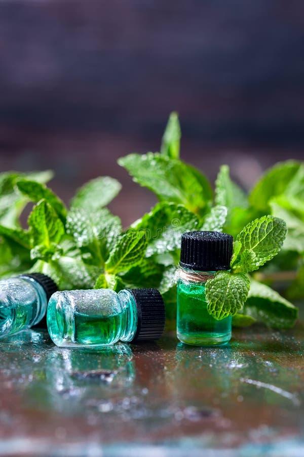 Istotny olej miętówka w małych butelkach, świeża zieleni mennica na drewnianym tle zdjęcie stock