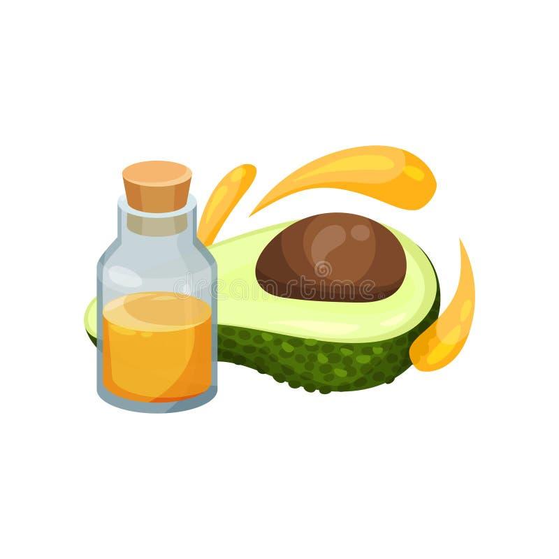 Istotny olej w małej szklanej butelce z korkowym deklem, połówka avocado i krople, kosmetyk naturalny Płaska wektorowa ikona ilustracja wektor