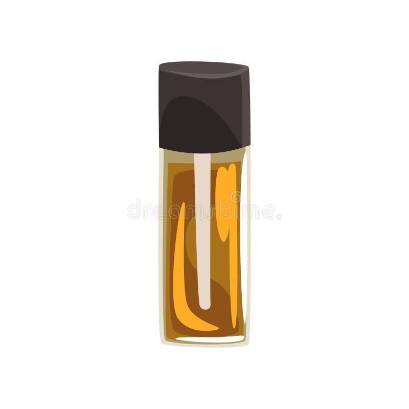 Istotny olej w szklanej butelce z pipetą Zdrój, aromatherapy i relaksu temat, kosmetyki naturalnych wektor dla royalty ilustracja