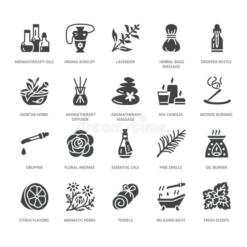Istotnych olejów aromatherapy glifu wektorowe płaskie ikony ustawiać Elementy - aromat terapii dyfuzor, nafciany palnik, świeczki ilustracja wektor