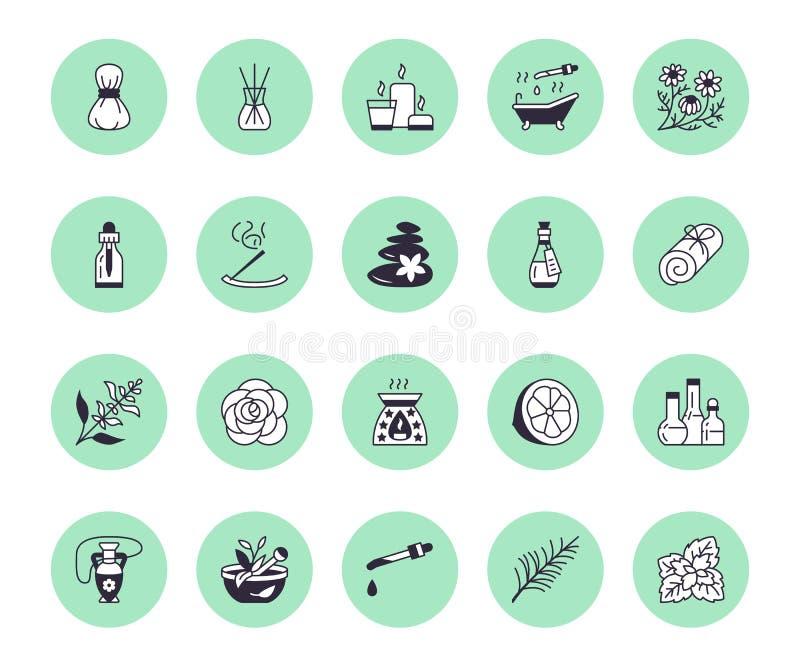Istotnych olej?w aromatherapy mieszkania linii wektorowe ikony ustawia? Elementy - aromat terapii dyfuzor, nafciany palnik, ?wiec ilustracji