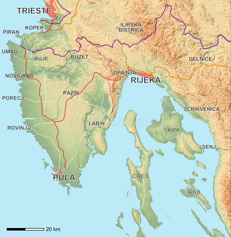 Download Istria Map stock illustration. Illustration of gulf, croatia - 12343129