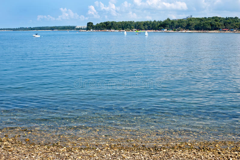 Istria półwysepa plaża w Porec zdjęcia stock