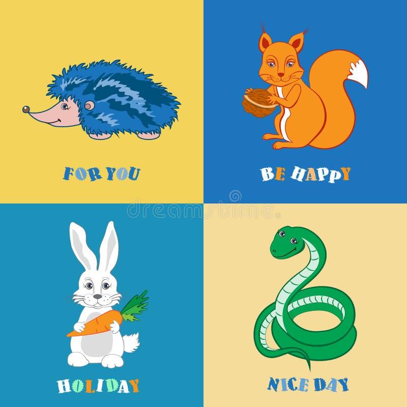 Istrice animale del fumetto della foresta, scoiattolo, serpente, coniglio isolato su fondo variopinto con testo, scarabocchio di  illustrazione vettoriale
