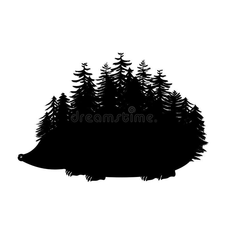 Istrice con le spolette come siluetta dei pini Anim coperto di spine della foresta illustrazione vettoriale
