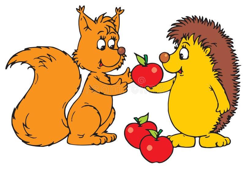 Istrice e scoiattolo illustrazione vettoriale
