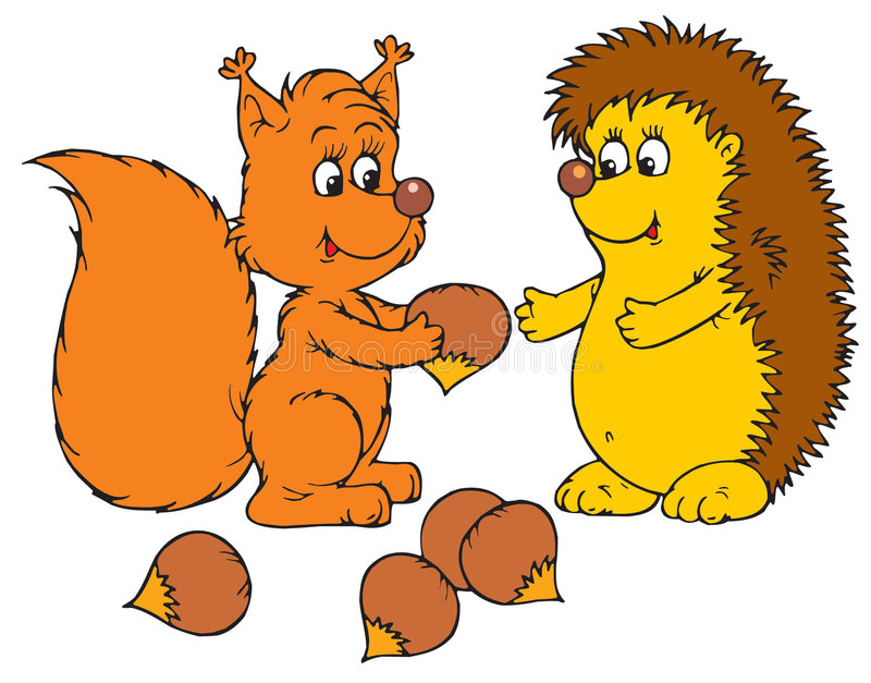 Istrice e scoiattolo (vettore illustrazione vettoriale
