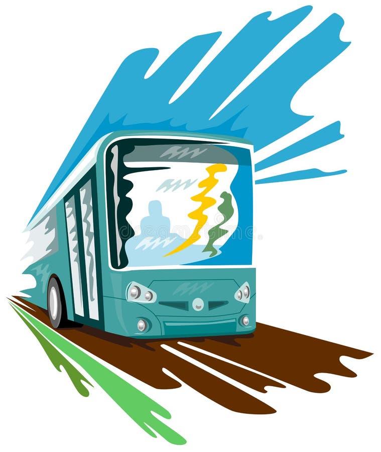 Istruisca il bus che accelera il retro stile illustrazione vettoriale