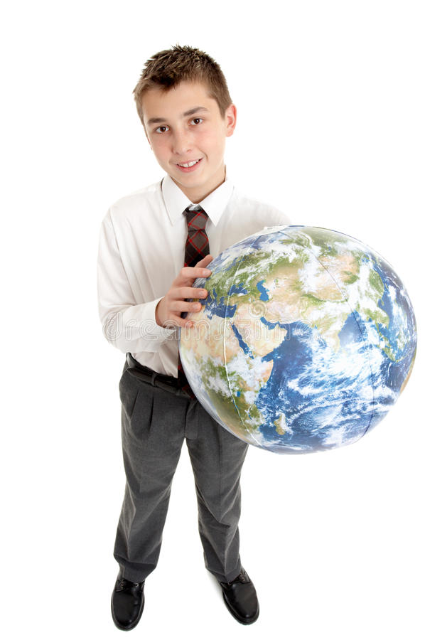 Istruisca l'allievo che tiene il mondo in sue mani immagini stock libere da diritti