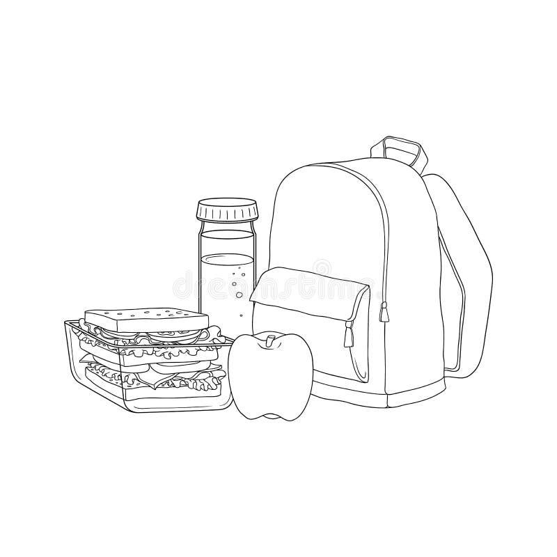 Istruisca lo zaino e l'alimento per l'intervallo di pranzo isolato su fondo bianco illustrazione vettoriale