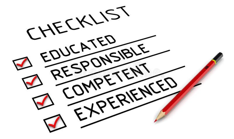Istruito, responsabile, competente, con esperienza La lista di controllo illustrazione vettoriale