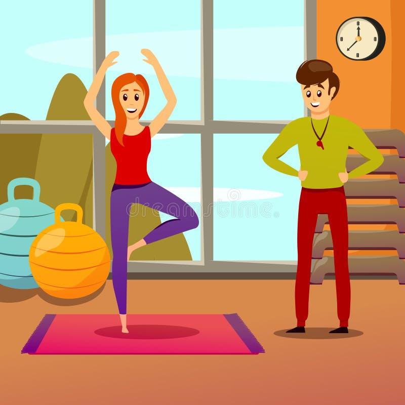 Istruttore personale Composition di yoga royalty illustrazione gratis