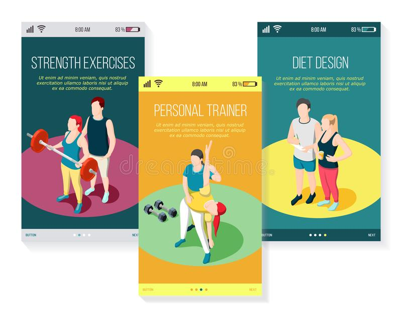 Istruttore personale Isometric Mobile Screens illustrazione vettoriale