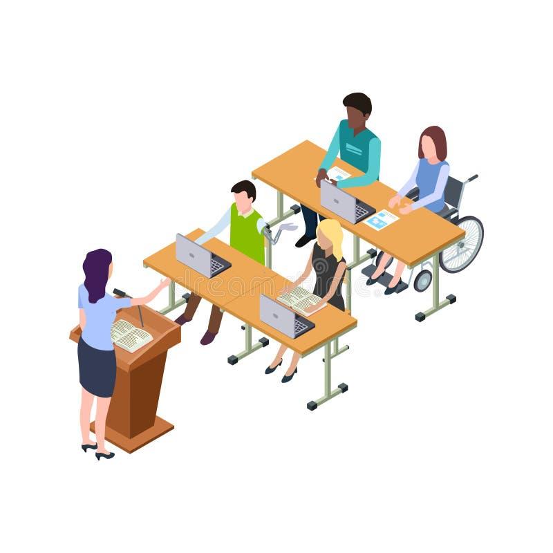 Istruzione accessibile per la gente con l'illustrazione isometrica di vettore di inabilità illustrazione di stock