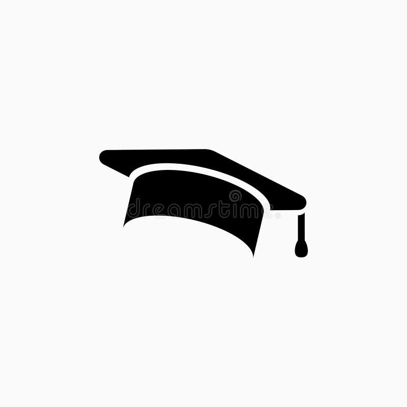 Istruzione, cappuccio di graduazione/illustrazione semplice di vettore icona del cappello immagini stock libere da diritti